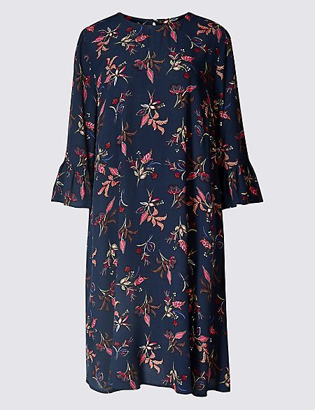 Printed 3/4 Sleeve Swing Dress