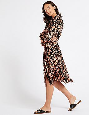 Floral Print Long Sleeve Shirt Midi Dress