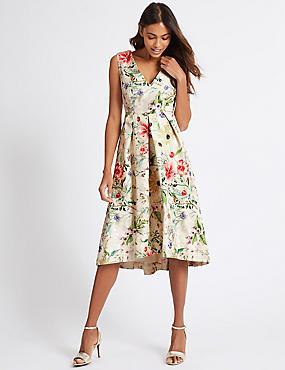 Floral Print Jacquard Prom Dress, IVORY MIX, catlanding