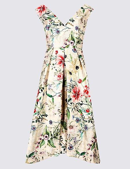Floral Print Jacquard Prom Dress
