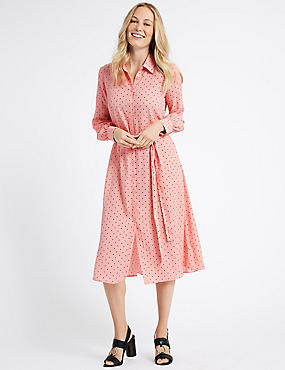 Printed Longline Shirt Midi Dress