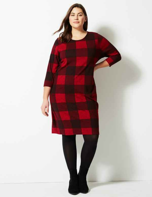 CURVE Checked 3 4 Sleeve Shift Dress f760f86d86