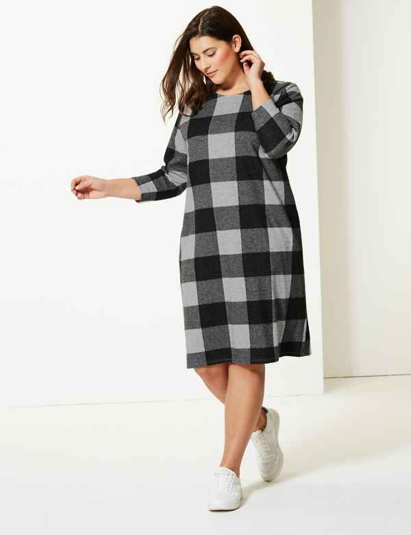 815c8c0d379 CURVE Checked 3 4 Sleeve Shift Dress