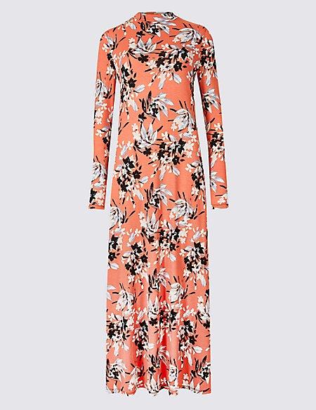 Floral Print Long Sleeve Maxi Dress
