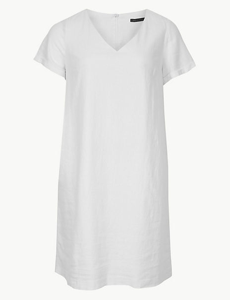 CURVE Linen Rich Shift Midi Dress