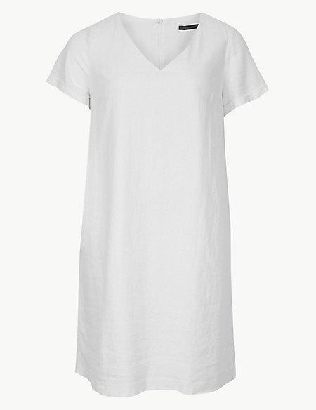 CURVE Linen Rich Shift Midi Dress
