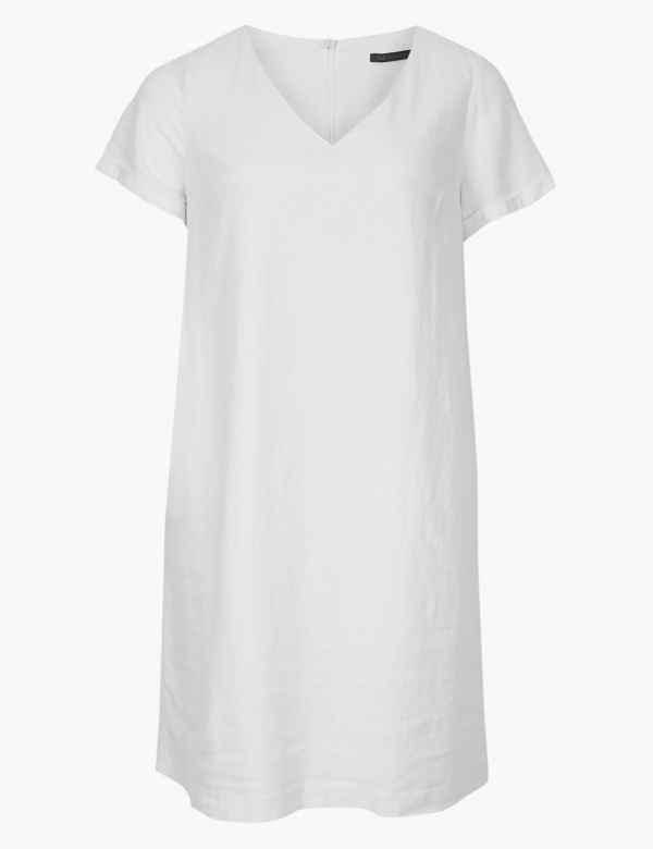86d92d1a2fd CURVE Linen Rich Shift Midi Dress