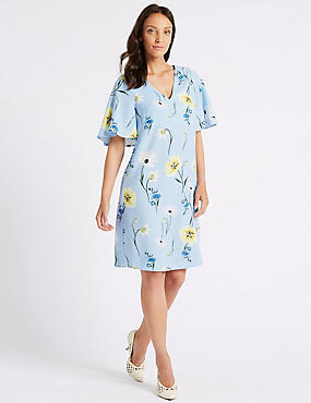 Floral Print Half Sleeve Shift Dress