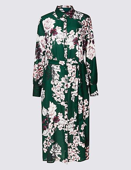 Floral Print Longline Shift Midi Dress