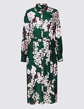 Floral Print Longline Shift Midi Dress