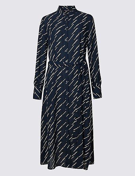 Printed Longline Shirt Midi Dress
