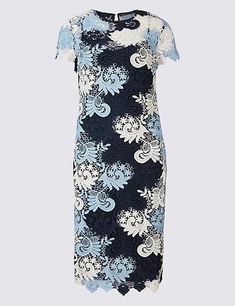 Swirl Lace Short Sleeve Bodycon Dress