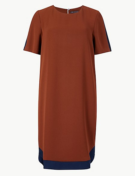 Colour Block Short Sleeve Shift Dress
