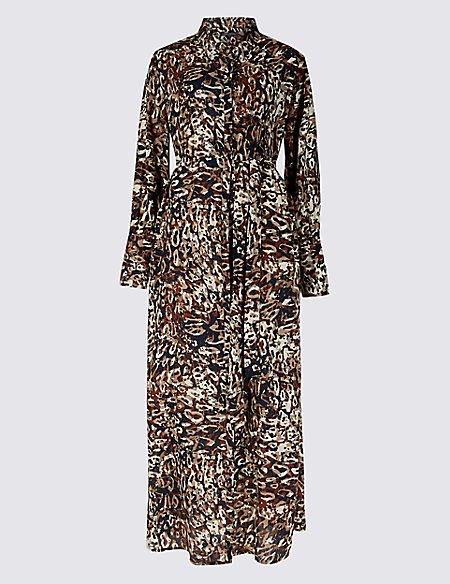 Printed Long Sleeve Shirt Maxi Dress