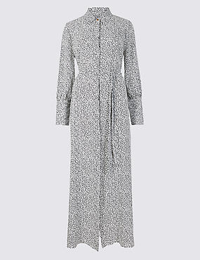 Printed Long Sleeve Shirt Maxi Dress