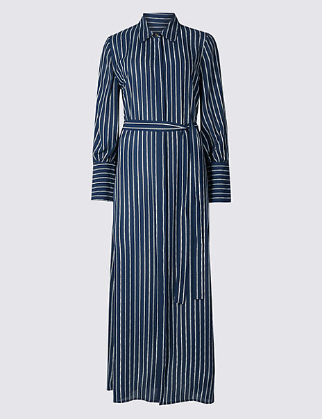 Striped Tie Waist Shirt Maxi Dress