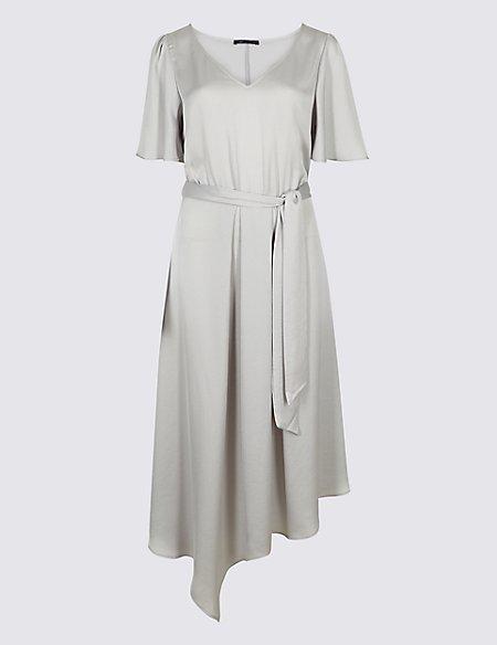 Satin Asymmetric Tunic Maxi Dress