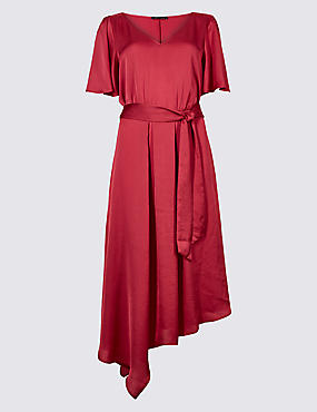 Satin Asymmetric Half Sleeve Tea Dress