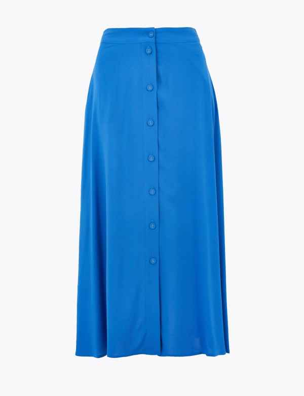 RRP £39.50 M/&S PER UNA SIZES 14 20 24 NAVY LINED SUN RAY PLEATED STRETCH SKIRT