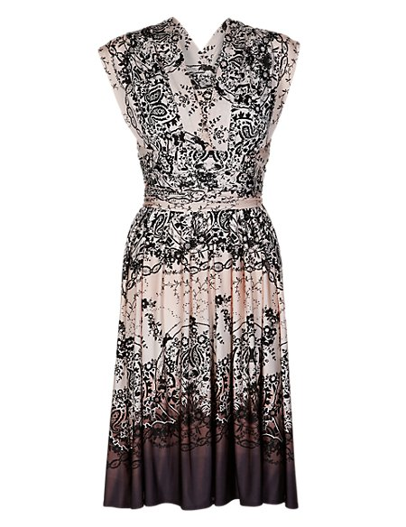Multiway Lace Print Ombre Skater Dress