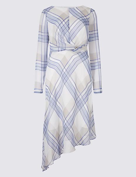 Checked Knot Front Tunic Midi Dress
