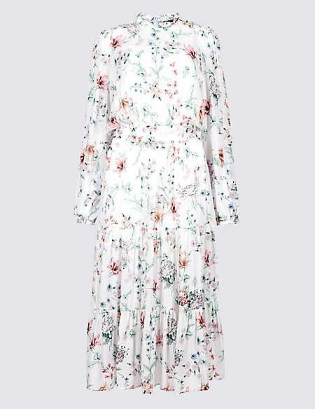 Product images. Skip Carousel. Floral Print Long Sleeve Midi Dress 620002c8d