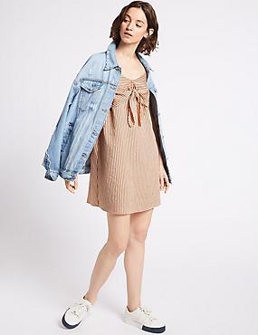 Striped Knot Front Vest Dress