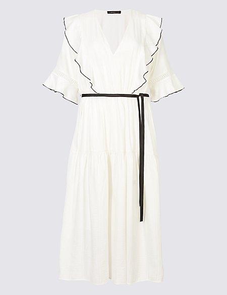 Seersucker Insert Half Sleeve Midi Tea Dress