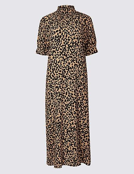 Animal Print Half Sleeve Shift Midi Dress