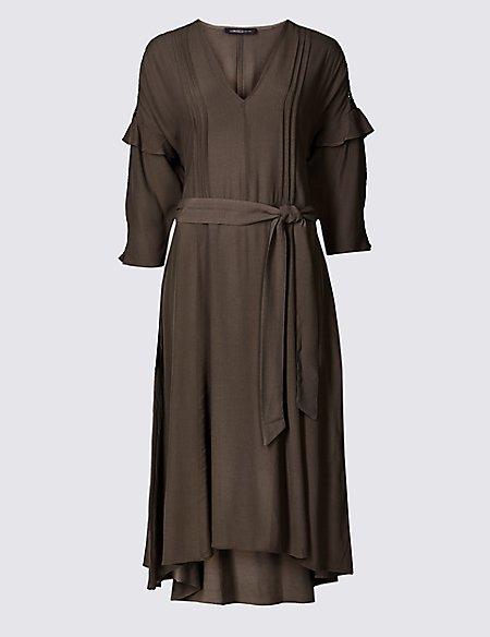 Lace Insert 3/4 Sleeve Midi Dress