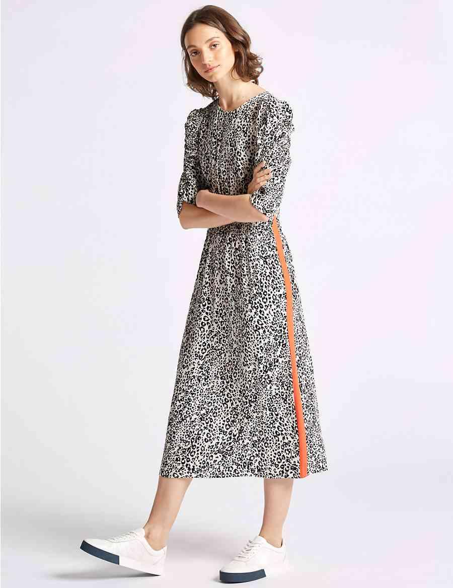 f14bac7e32 Animal Print Half Sleeve Tea Midi Dress