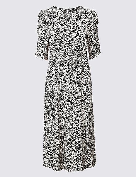 Animal Print Half Sleeve Tea Midi Dress