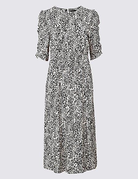 animal print half sleeve tea midi dress