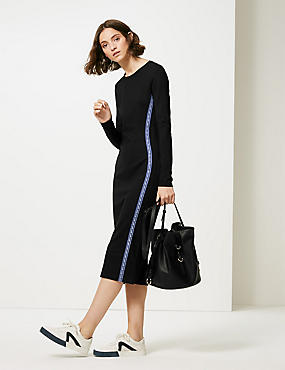 Panel Detail Long Sleeve Bodycon Midi Dress