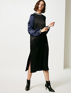 Colour Block Long Sleeve Shift Midi Dress
