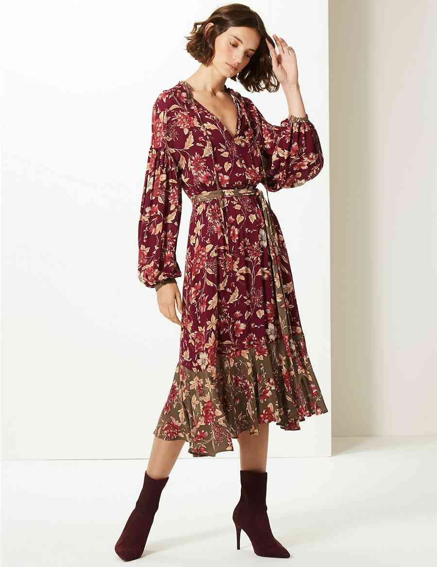 426f8b297d144 Floral Print Long Sleeve Tea Midi Dress