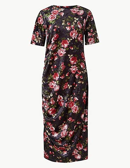 Floral Print Shift Midi Dress