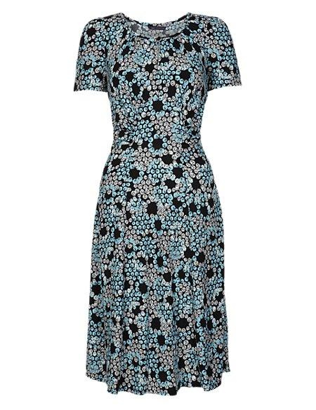 Honeycomb & Daisy Print Tea Dress