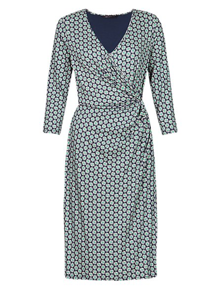Split Circle Print Wrap Dress