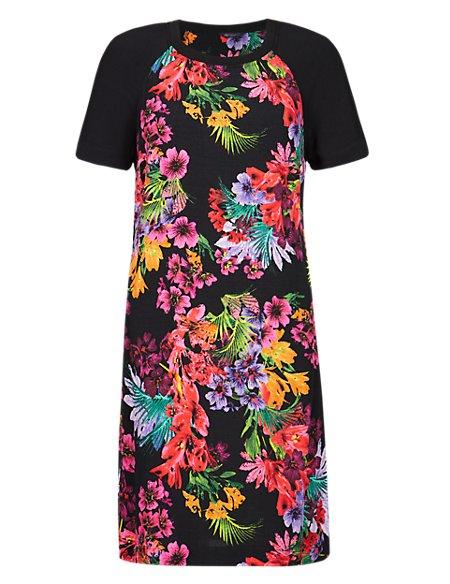Ribbed Neckline Tropical Print Tunic Dress