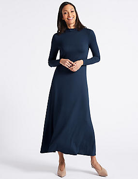 Jersey Turtle Neck Maxi Dress