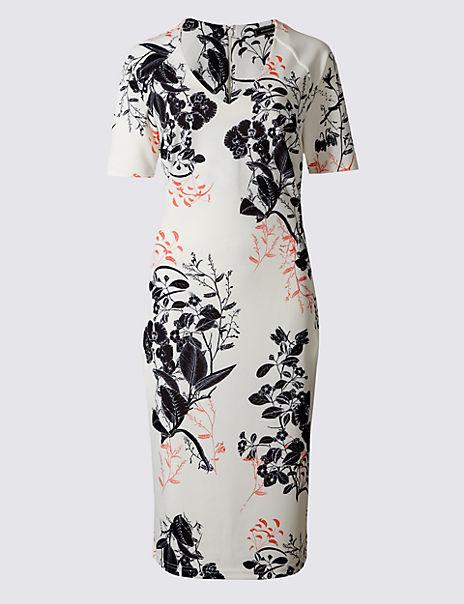 Floral Print Scuba Bodycon Dress