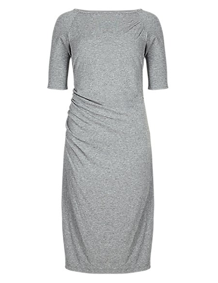 Drop Waist Drape Dress with Wool