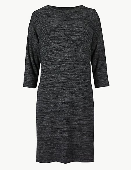 Textured Cosy 3/4 Sleeve Shift Dress