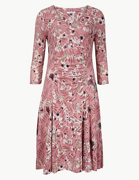 Floral Print Waisted Dress