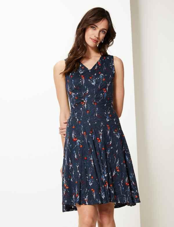 Jersey Floral Fit   Flare Midi Dress 22b7bf8a0