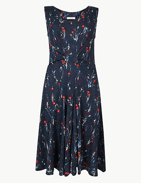 Jersey Floral Waisted Dress