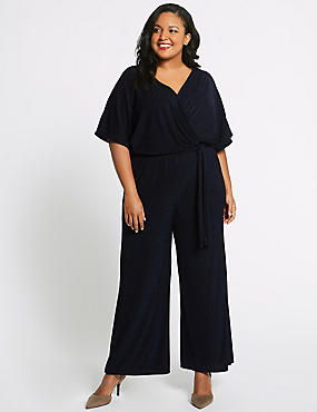 CURVE Sparkly Short Sleeve Jumpsuit