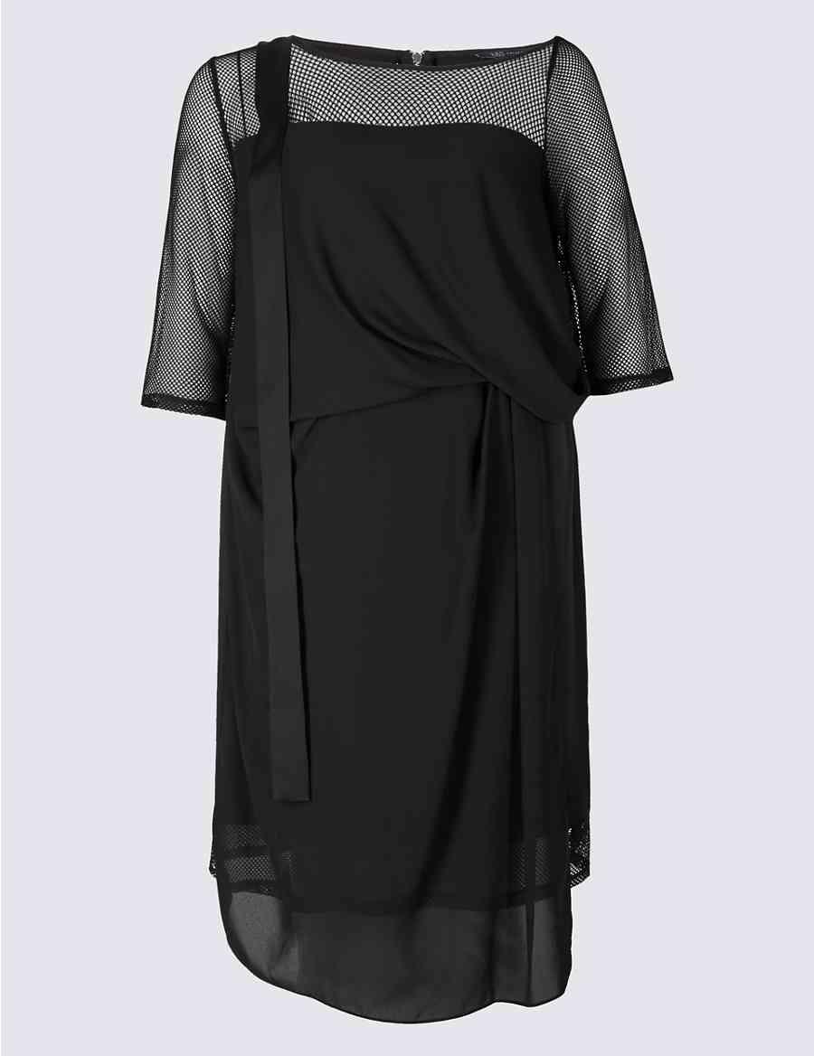 5d2b3f3510 CURVE Half Sleeve Mesh Midi Dress