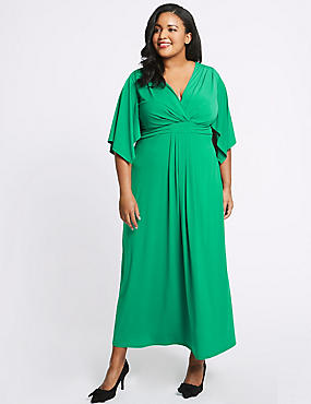 CURVE Front Knot Half Sleeve Maxi Dress